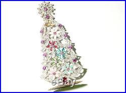 Free standing vintage Czech rhinestone jewel flower Christmas tree ornament 8