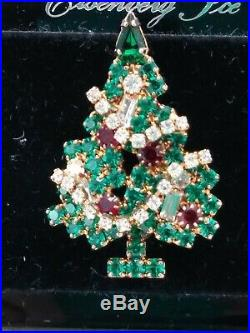 GORGEOUS VTG Eisenberg Ice Christmas Tree PIN BROOCH with COLORED & SHAPED STONES