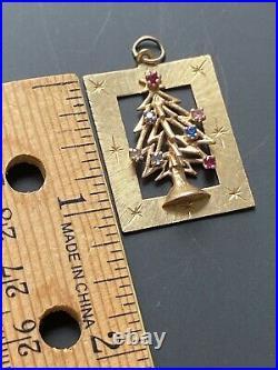 GORGEOUS VTGCHRISTMAS 14k GOLD CHARM3D TREE 7 COLORFUL gemstones 1.5 5.69g