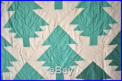 GORGEOUS Vintage 30's Forest of Green Pine Trees Christmas Tree Antique Quilt