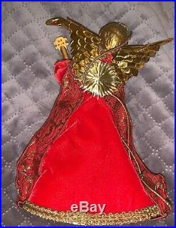 GORGEOUS! Vintage Koestel Germany Floral & Velvet Christmas ANGEL Tree Topper