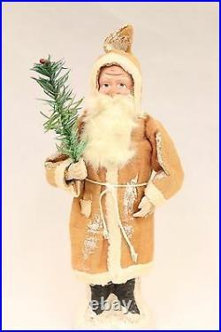 German Saint Nickolas 1928 Candy Holder Vintage Santa Claus with feather tree