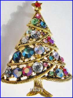 Glittering Vintage Hollycraft Christmas Tree Pin, Pretty Stones, Signed, Lovely