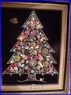 Gorgeous! Ooak! Vintage Framed Lighted Folk Art Jewelry Christmas Tree Wall Art