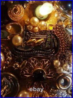 Gorgeous! Ooak! Vintage Framed Lights Jewelry Christmas Tree Folk Art Picture