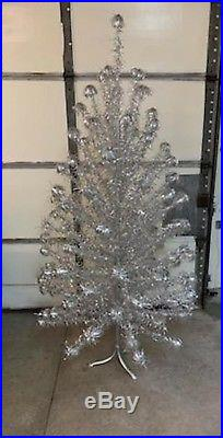 Gorgeous Vintage 7 Foot Aluminum Pom Pom Christmas Tree 100 Branch in Box