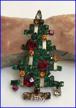 Gorgeous Vintage Collectible WEISS 6 Candle Rhinestone Christmas Tree Brooch