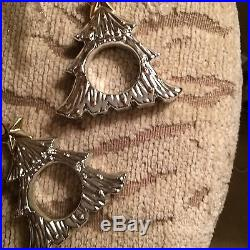 Gorgeous Vintage Silver/Gold Tone Christmas Tree Place Markers/Napkin Rings/NICE