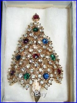 HTF Vtg Eisenberg Ice Rhinestone Cut your Own Christmas Tree Pin Brooch
