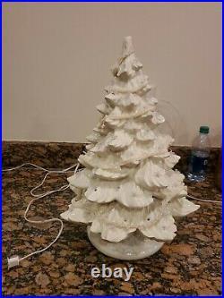 HUGE 19 Inch White Ivory Ceramic Christmas Tree Vtg