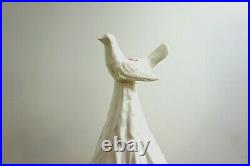 HUGE 23 WHITE Vintage Ceramic Christmas Tree with figural Dove candle holders