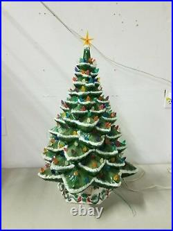 HUGE 29 VTG Provincial Mold Lighted Flocked Ceramic Christmas Tree. VERY RARE