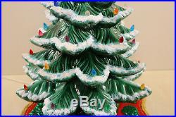 HUGE Ceramic Christmas Tree Vtg Snow Flocked 3 Piece Atlantic 24.5 High