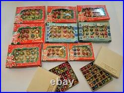 HUGE LOT Vintage MINI Glass Feather Tree Christmas Ornaments SHINY BRITE Box