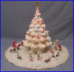 Huge Vintage Atlantic Mold Light Up Ceramic Christmas Tree Skirt Cover 22 Snow