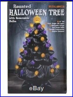 Halloween Haunted Black Ceramic Christmas Tree With Bulbs Vintage Style