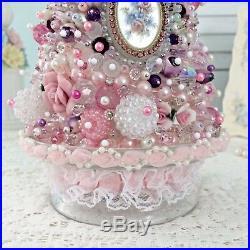 Hand Made Jeweled Christmas Tree Rhinestones Pink Beaded Vtg Jewelry Stick Pins