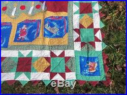 Handmade Patchwork CHRISTMAS Quilt VTG Size 84X96 X-MAS TREE WithCANDLES ZIG ZAG
