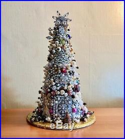 Handmade Vintage Repurposed Jewelry Christmas Tree Retro Estate Brooches Beads