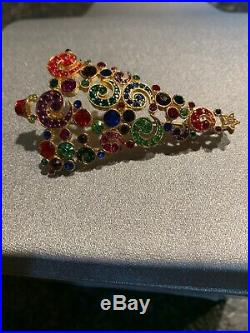 Haskell Christmas Tree Pin Vintage Christmas Rhinestone Brooch 4 Or Pendent