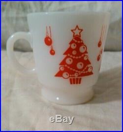 Hazel Atlas Vtg. Punch/Eggnog Bowl Set Green/Red Christmas Trees Mugs Milk Glass