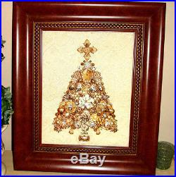 Heirloom Quality Vintage Christmas Antique Estate Framed Jewelry Tree Art