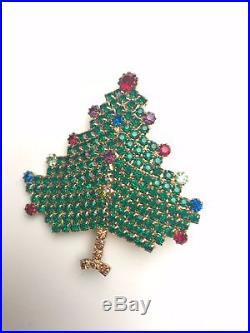 Hobe Vintage Christmas Tree Pin Brooch Rhinestone HolidaY COAT PIN