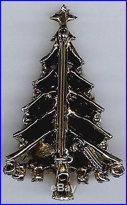 Hollycraft Beauty Vintage Multi Color Rhinestone Christmas Tree Pin