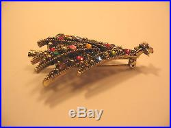Hollycraft Christmas Tree Pin & Clip-on Rhinestone Earrings Vintage Signed 3 Pc