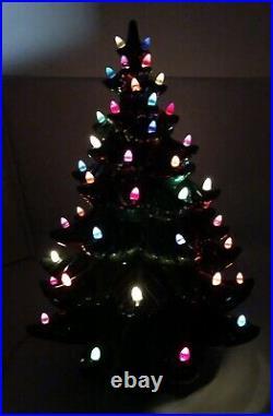 Huge 3 Piece Vintage Ceramic Christmas Tree withBase Atlantic Mold Lights