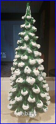 Huge 32 3 Piece Vintage Ceramic Christmas Tree withBase Atlantic Mold Lights Star