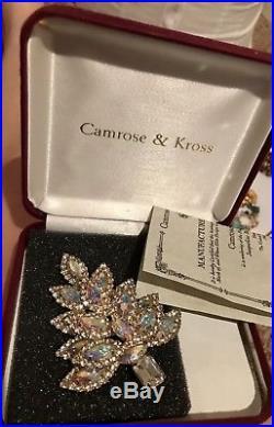 Huge Eisenberg Ice Signed Christmas Tree Pin Brooch Vintage Rhinestones 3 1/2