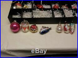 Huge Lot Of Vintage Glass Christmas Tree Ornaments 25 Plus Tray 2 1940s / 50s