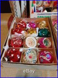 Huge Lot Vintage Christmas Ornaments 37 + Tree ToppersWest GermanySanta Land