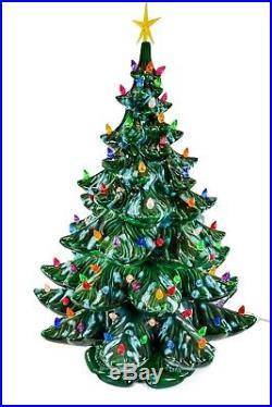 Huge Vintage Stunning MID Century Ceramic Christmas Tree With Base