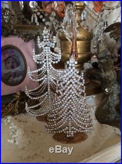 Jeweled Rhinestone free standing Vtg style Czech christmas tree clear
