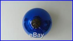 Kugel 3 Cobalt Blue Glass Ball Christmas Tree Ornament Germany Vintage