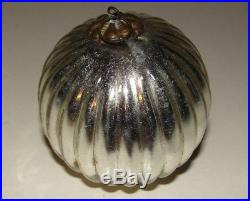 Kugel Silver Glass Ball Christmas Tree Ornament Germany Vintage