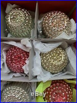 LARGE VINTAGE Shiny Brite REAR Christmas Tree Ornaments Bumpy Double Indents