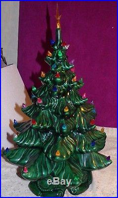 LARGE Vintage 22 GREEN Ceramic CHRISTMAS Tree 3 pc & a lot of Multi color Bulbs