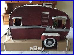 LARGE Vintage Style RED Metal Camper For Truck CHRISTMAS TREE Lights FARMHOUSE