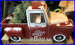 LARGE Vintage Style RED Metal Camper & Truck CHRISTMAS TREE Farmhouse Lighted