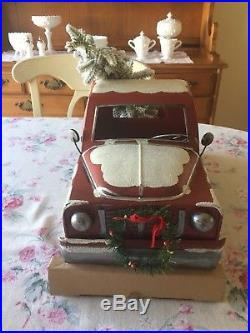 LARGE Vintage Style RED Metal Truck CHRISTMAS TREE Lights/Timer FARMHOUSE Decor