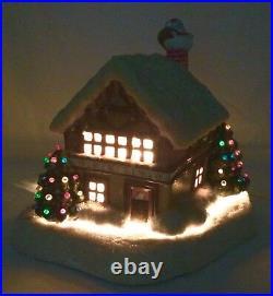 LIGHTED Ceramic Xmas HOUSE Cottage TREES SANTA Chimney MUSIC Box 2 Pc Vtg