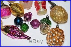 LOT 22 Antique VINTAGE Feather Tree Glass Christmas Ornaments INDENTS SANTA More