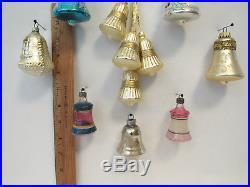 LOT OF 12 VTG 1930s 50s GLASS BELL CHRISTMAS TREE ORNAMENTS + 4 BONUS BELLS