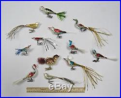 LOT OF 12 VTG 1950s 60s MERCURY GLASS BRUSH TAIL BIRD CHRISTMAS TREE ORNAMENTS