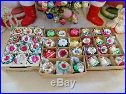 LOT of 36 Vtg Feather Tree Indents Bells Painted Glass Xmas Ornament Japan Mini