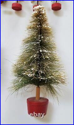 LOT vintage 20pc BOTTLE BRUSH CHRISTMAS TREES putz