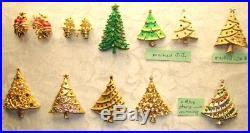 LOVELY VTG Rhinestone Christmas Tree Earrings Pins Lot some signed J. J, LJM, X